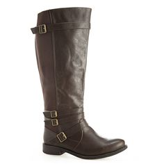 Avenue Laurel 4-Buckle Riding Boot ($20) ❤ liked on Polyvore featuring shoes, boots, brown, plus size, tall boots, brown knee high riding boots, brown knee high boots, tall riding boots and brown boots