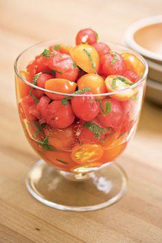 Yummy tomato recipe: cherry tomato, melon, and mint salad