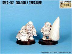 DWA-02 Dragon's Treasure (2) Lead Adventure, Dragon, Miniatures, Dragons, Minis