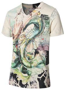 c4e2df16 3D Stylish Dragon Pattern V-Neck Short Sleeve Plus Size Men's T-Shirt -