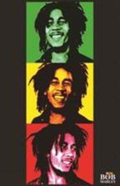 Bob Marley Triptych Music Poster 24x36