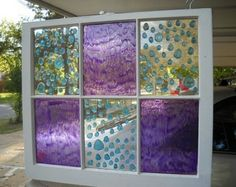 This is a guide about faux stained glass windows. You can easily create beautiful stained glass looking windows using recycled windows and adding paint or other embellishments.