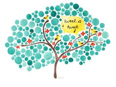 Tree Art Tweet Inspirational Watercolor Painting by jellybeans, $18.00
