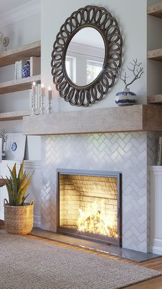 Glamorous White and Neutral living room decor with a marble tile fireplace surround for an accent wall statement Fireplace Accent Walls, Fireplace Feature Wall, Fireplace Tile Surround, Fireplace Redo, Fireplace Remodel, Living Room With Fireplace, Fireplace Surrounds, Fireplace Design, My Living Room