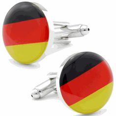 Round German Flag Cufflinks, Round Cufflinks by Cufflinksman