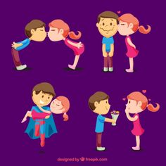 Pack of young lovers in different romantic moments , Valentines Day Cartoons, Valentines Day Couple, Valentines Day Background, Happy Valentines Day, Cute Couples Kissing, Couples In Love, Romantic Couples, International Kissing Day, Love Silhouette