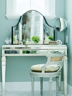 """Love the table for my closet turned vanity space.  I would pair with a """"global, moroccan"""" inspired mirror."""