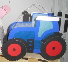 Bastelpackung Laterne Traktor** BLAU-ROT