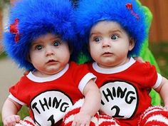 These twins rock their Thing 1 and Thing 2 costumes. Their mom made their wigs using old hats, cheap fuzzy boas (Visit your local craft store!), and a glue gun. #DIY #LiteraryHalloween