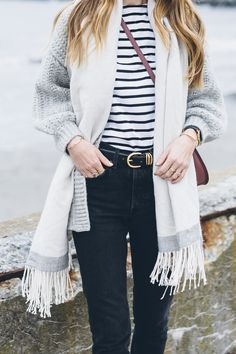 Fewer Better Things | Jess Ann Kirby in black jeans, striped tee and gold accents
