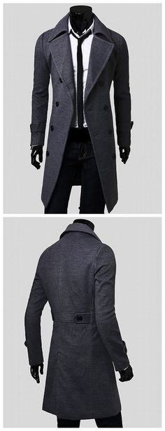 Double Breasted Overcoat with Side Pockets - Gray M