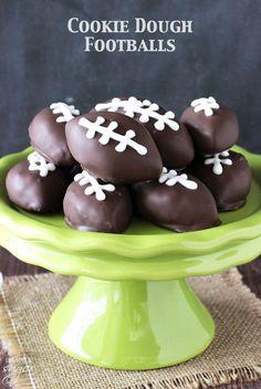 Chocolate Chip Cookie Dough Footballs
