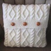 Diamonds and Cables Knit Pillow Cover - via @Craftsy