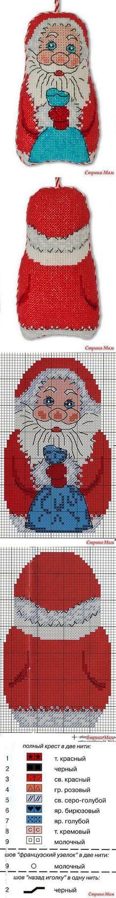 "Декоративная подвеска ""Дед Мороз"": Дневник группы ""Бискорню и другие ""кривульки"""" - Страна Мам Xmas Cross Stitch, Cross Stitch Kits, Cross Stitch Charts, Cross Stitching, Cross Stitch Patterns, Christmas Charts, Christmas Cross, Christmas Ornaments, Embroidery Techniques"