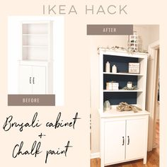Bookshelf, chalk paint, transform furniture, cabinet, style a bookcase Ikea Brusali, Bookshelves, Bookcase, Ikea Hacks, Chalk Paint, Home Projects, Playroom, Pantry, Dresser