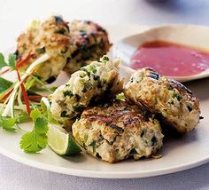 Thai chicken cakes with sweet chilli sauce. A light and healthy supper that's a great variation on the chicken theme