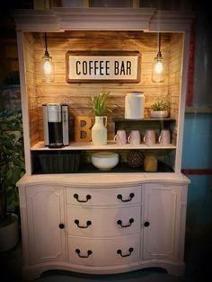 Wine And Coffee Bar, Coffee Bar Home, Home Coffee Stations, Refurbished Furniture, Repurposed Furniture, Home Furniture, Diy Furniture Renovation, Furniture Makeover, Coffee Bar Design