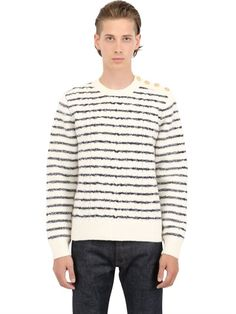 VALENTINO - STRIPED EMBROIDERED WOOL SWEATER