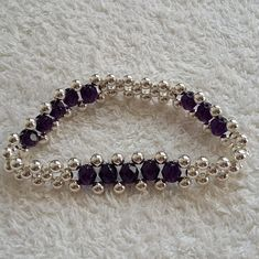 This beautiful bracelets is handmade by silver plated and amethyst crystal beads. - This beautiful bracelets is handmade by silver plated and amethyst crystal beads. Its fit in any oc - Bead Jewellery, Jewelry Making Beads, Bracelet Making, Golden Jewelry, Silver Jewelry, Silver Ring, Beaded Bracelet Patterns, Beaded Bracelets, Amethyst Crystal