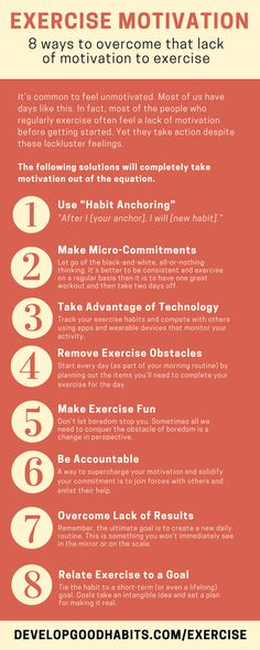 Exercise Motivation - 8 Methods for overcoming lack of motivation for exercise. Tips to help ou get over the hurdle and get your daily exercise in. -- Excerpted from ebook - Exercise Every Day - see it here: http://www.developgoodhabits.com/exercise