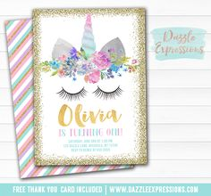 Printable Ourple, Mint, Pink and Gold Glitter Unicorn Face Birthday Invitation | Purple,Teal and Blush Floral Invitation | Magical Girls 1st Birthday | Horse Party | Favor Tags | Cupcake Toppers | Food Labels | Photo Props | Signs | Banner | DIY Party Package Decor