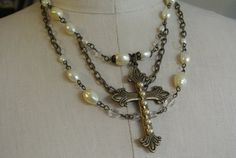 UPcycled Vintage Pearl and Cross Necklace by UPcycledWorks on Etsy