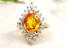 Vintage Orange Sapphire & Diamond Halo Engagement Ring 0.66ctw Diamond Wedding Ring 14K Gold Alternative Sapphire Engagement Ring Size 6 by LadyRoseVintageJewel on Etsy