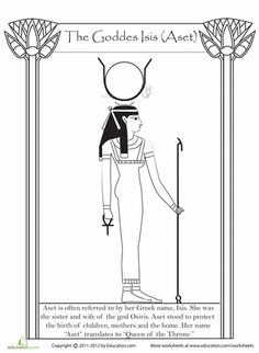 Worksheets: Egyptian Goddess Isis coloring page