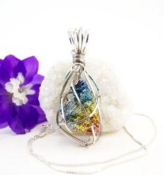 Bismuth crystal pendant necklace - Rainbow bismuth crystal jewelry - Argentium…