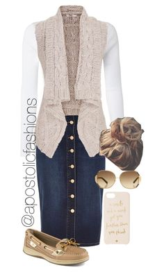 """""""Apostolic Fashions #854"""" by apostolicfashions ❤ liked on Polyvore featuring White Stuff, River Island, maurices, Sperry Top-Sider, Kate Spade and Oscar de la Renta"""