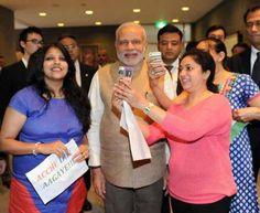 Modi Takes Selfie During Sacred Heart University