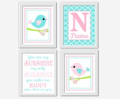 Pink Aqua Baby Girl Nursery Wall Art Birds You Are My Sunshine Personalized Name…