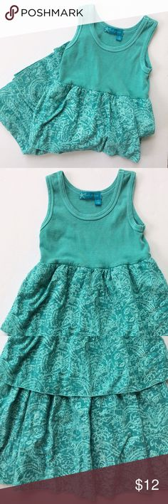 Ruffle tiered tank top dress Green blue tank top dress by Fresh Produce. Soft cotton top and and big ruffles on the bottom. Ruffles have muted paisley like pattern. Medium = 7/8. Fresh Produce Dresses