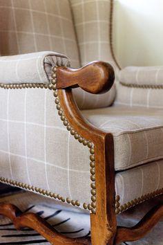 Plaid Wingback Armchair | Ashley Gilbreath Interiors