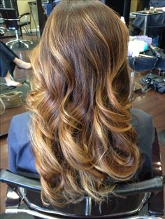 brown ombre with blonde highlights. Not a fan of ombré but love the color