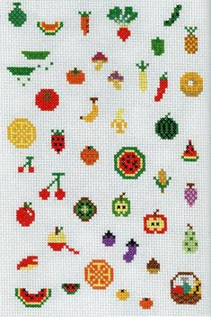 cute cross stitch fruit and veg Tiny Cross Stitch, Cross Stitch Fruit, Cross Stitch Kitchen, Cross Stitch Books, Beaded Cross Stitch, Cross Stitch Designs, Cross Stitch Embroidery, Embroidery Patterns, Hand Embroidery
