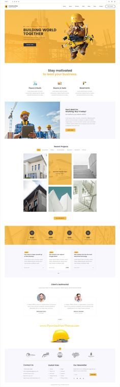 Clean and modern design #PSD template for #construction and #architecture company #website with 11 layered PSD pages to live preview & download click on image or Visit