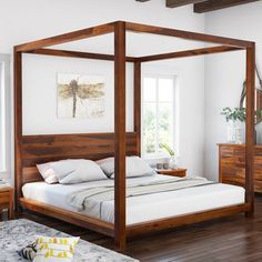 Osteen Contemporary Style Solid Wood Low Height Platform Canopy Bed - Home - Platform Canopy Bed, Wood Canopy Bed, Canopy Bed Frame, Diy Bed Frame, Modern Canopy Bed, Low Platform Bed, Solid Wood Platform Bed, Solid Wood Bed Frame, Mattress Dimensions