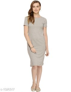 Dresses Women's Self-Design Bodycon Cotton Dress  *Fabric* Cotton  *Sleeves* Sleeves Are Included  *Size* S - 36 in, M - 38 in, L - 40 in  *Length* Up To 40 in  *Type* Stitched  *Description* It Has 1 Piece Of Women's Dress  *Pattern* Solid  *Sizes Available* S, M, L *    Catalog Name: Cali Fashion Cycle Stylish Dresses Vol 2 CatalogID_124076 C79-SC1025 Code: 613-1026917-