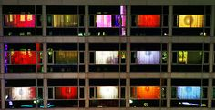 Exterior of the Nordic Light Hotel in Stockholm, which features light installations in each room