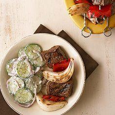 Greek Beef Kabobs with Cucumber Salad. Nutrition Facts Per Serving:  Servings PerRecipe: 4 PER SERVING: 278 cal., 12 g total fat (4 g sat. fat), 63 mg chol., 373 mg sodium, 12 g carb. (2 g fiber, 6 g sugars), 28 g pro.  Diabetic Exchanges  Other Carb (d.e): 0.5;Vegetables(d.e): 1.5; Fat (d.e): 1; Lean Meat (d.e): 3.5