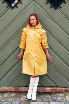 Sunny fashion raincoat photoshoot LATVIA on Beha Best Rain Jacket, Black Rain Jacket, North Face Rain Jacket, Rain Jacket Women, Yellow Raincoat, Raincoats For Women, Rain, Wraps, Jackets
