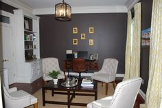 Study - tufted upholstered chairs, custom made draperies