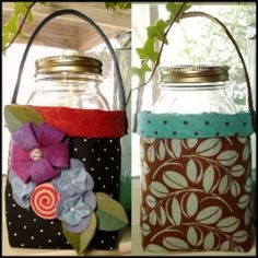 Fabric Quart Jar Container | Pattern to make a Fabric container for a quart jar. Good for gift giving. Found at YouCanMakeThis.com