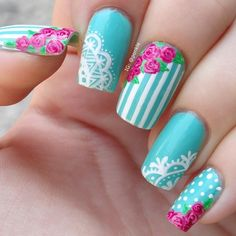 Flowers do not always open, but the beautiful Floral nail art is available all year round. Choose your favorite Best Floral Nail art Designs 2018 here! We offer Best Floral Nail art Designs 2018 .If you're a Floral Nail art Design lover , join us now ! Lace Nail Design, Lace Nail Art, Flower Nail Designs, Lace Nails, Floral Nail Art, Simple Nail Designs, Flower Nails, Nail Art Designs, Stiletto Nails