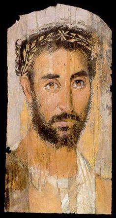 Egypt: Funerary Portrait Painting of a Man From the Roman Period Ancient Rome, Ancient Art, Ancient History, Egyptian Mummies, Egyptian Art, Art Romain, Louvre Paris, Art Corner, Roman Art