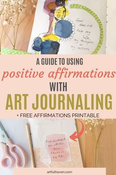 How to use positive affirmations in your art journal to influence your own mindset? Get art journal ideas about combining positive affirmations and art journaling into wonderful art journal pages. Art Journal Prompts, Art Journal Pages, Art Journals, Journal Ideas, Sketchbook Prompts, Art Therapy Projects, Art Therapy Activities, Therapy Ideas, Art Projects