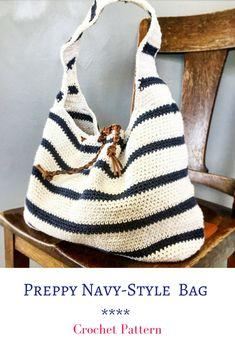 Make your own Preppy Navy-Style Bag #crochet #crochetpattern #preppy #handbag #ad #pattern #navystyle #chic #diy