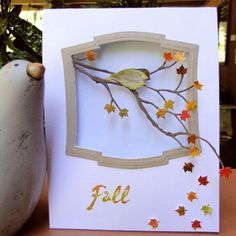 Fall Bird in a Window.  I love the simplicity, but the depth of the card made me look twice.