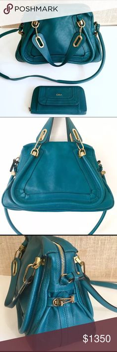 Authentic Chloe Paraty with matching wallet Lovely Chloe Paraty in rare turquoise blue. Matching zip around wallet is included with this listing. Color: Turquoise blue Exterior Condition: Very good. Light isolated scuffing near zipper closure (see pictures) and very minor signs of wear on the body of the bag, too small to capture in photos. Bottom and corners are in excellent condition. Please use zoom option to see details.
